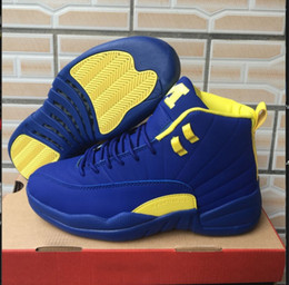 Wholesale Cheap Designer Box - High Quality PSNY 12 PE Basketball Shoes Men 12s Michigan Navy Blue Yellow Maize shoes Cheap Online Mens Designer Shoes
