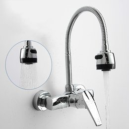 Wholesale valve polishing - Modern Wall Mounted Kitchen Hot And Cold Water Tap Spray Swivel Vessel Sink Mixer Basin Faucet Brass Valve Kitchen Accessories