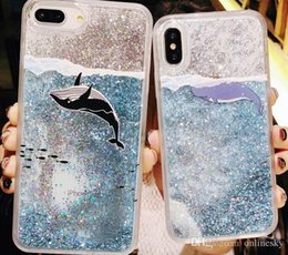 Teléfono de hermoso diseño online-Beautiful Design Glitter Liquid Quicksand Fundas de teléfono para iPhone Bling Unicornio Water Sequins Paris para iPhone 7 8 Plus X Case