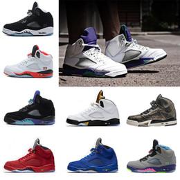 Wholesale Basketball Player Shoes - Mens Basketball Shoes traiber 5 OG Black Metallic men camo Oreo bel air metallic black white play 5s sports sneakers player