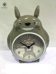 2019 luces de campana Reloj Despertador Luz Noche AGUJERO Doble Campana Mudo Voz Multifuncional Lindos Estudiantes de Dibujos Animados Tabla Infantil Reloj Totoro luces de campana baratos