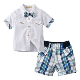 Wholesale Kids Black Tie Suit - 2018 Kids Boys Clothes Set Summer Children Clothing Short Sleeves Gentleman Bow Tie Shirts+Plaid Shorts Suits T-shirt Tops +Pants 2pcs Set
