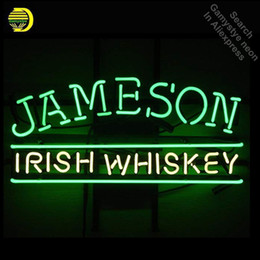 ирландские таблички Скидка Neon Sign Jameson Irish Whisky neon Light Sign Beer Bar Pub Custom Design Handcrafted Hotel Гараж для продажи