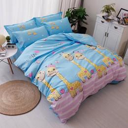 2019 hojas de impresión jirafa Impreso jirafa de textiles para el hogar impreso 3 / 4pcs ropa de cama cubierta de la cama hoja de cama funda nórdica funda de almohada ropa de cama de la reina hojas de impresión jirafa baratos
