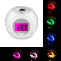 Будильник включен онлайн-New Design Digital Alarm Clock Desk Decoration Wake Up Light Clock For Kids Child Toddler Adults 7 Colors Changing Alarm Clock