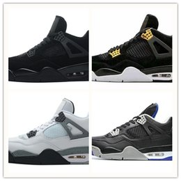 Wholesale Money Fishing - 2018 Fashion New Retro 4 4s Men Basketball Shoes Pure Money Premium Black Cat white cement Bred Fire red Fear Alternate sports shoes sneaker