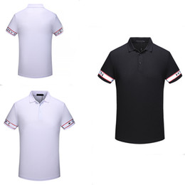 Wholesale Mens Casual Polo - 2018 Italy designer polo shirt t shirts Luxury Brand GIV Letter floral embroidery mens polos High street fashion stripe print polo T-shirt