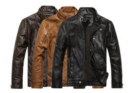 Wholesale Leather Motorcycle Jackets Mens - Fashion New Design Motorcycle Jackets Mens Long Sleeve Leather Jacket Hombre Men's Coats Plus Size M-3XL