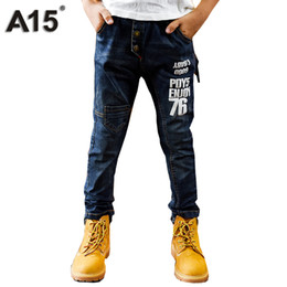 Wholesale Boys Clothes Size Jeans - A15 Ripped Jeans for Kids Boys Jeans 2017 Fashion Long Length Kids Pants Children Trousers Teenage Clothing Size 8 10 12 14 Year