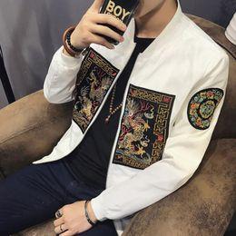 Wholesale Coats Chinese Collars - Spring Men Bomber Jacket New Fashion Chinese Long Pao Jackets Men Slim Fit Long Sleeve Men Casual Coats Windbreaker