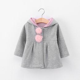 Wholesale Kid Girl Leather Jacket - Everweekend Cute Girls Bunny Ears Cute Autumn Jackets Outwears with Hats Western Toddler Kids Pink Gray Color Outwears