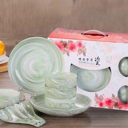 Wholesale Christmas Dinnerware Sets - 10 pieces set Ceramic Tableware Sets Jadeite Porcelain Bowl Plate Spoon Ceramic Dinnerware Set Chinese Style Christmas Gift