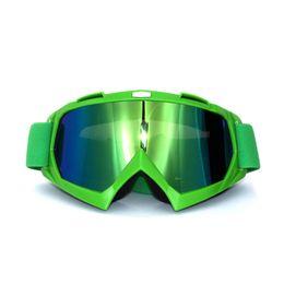 Verres teintés verts en Ligne-dark green black strip Motorcycle Goggles Glasses Motocross googles Bike Cross Country Flexible Goggles Tinted UV