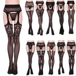 cab3876db80 black garter tights Coupons - Comfortable Lace Garter Transparent Black  Fishnet Stockings Sheer Tight Harajuku Embroidery