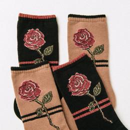 Wholesale Rose Bushes - Foot 22-25cm Short Socks Camel Pink Red Rose Embroidery Spun Gold Line Ethnic National Beauty Bushes Bloom Garden Rosebush Thorn