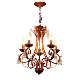 Wholesale rustic chandelier lighting - American classical iron crystal pendant lights K9 crystal chandelier lighting fixtures purple bronze chandeliers home decor 5 6 8 heads