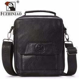 FUZHINIAO High Quality Business Men Messenger Bag 100% Genuine Leather  Handbag Man Shoulder Small Satchel Crossbody Office Bags 8fbc8d8602fd8