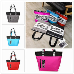 Wholesale Waterproof Nylon Shoulder Bag - 9 Colors Pink Letter Handbags Women Shoulder Bags Love Pink Waterproof Shopping Bag Handbag Secret Travel Duffle Bags CCA8953 12pcs