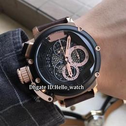 Mens relógios mão esquerda on-line-Barato canhoto 50mm U-51 U51 Chimera Bronze 7474 Skeleton Dial Preto Quartz Chronograph Mens Relógio Rose Gold Leather Strap Sport Watches