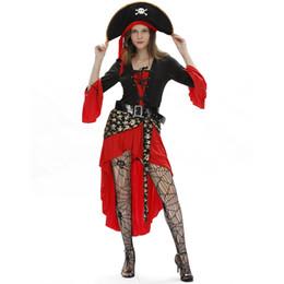 Piratas caribe ropa online-Disfraces de Halloween para adultos Diseñador de Halloween Mujeres Ropa Caribbean Pirates Captain Queen Rave Party Carnaval Disfraces de Cosplay