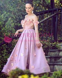 Wholesale art print images - 2018 3D Flora Appliques Pink Prom Dresses Off The Shoulder Tea Length Elastic Stain Formal Evening Occasion Dresses Custom Made