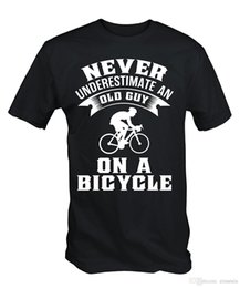 mens bicycle shorts 2018 - Men Fashion Mens Never Underestimate An Old Guy On A Bicycle Funny Cycle T Shirt Band Logo Tee Shirt For Men