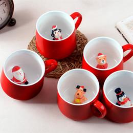 Cerâmica em forma de mão on-line-Eco-Friendly Mom 'S Mão 400ml 3d Natal Caneca Adorável Stereo Forma animal dos desenhos animados Os amantes de cerâmica Copa do presente de Natal