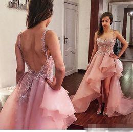 2018 Dusty Pink High Low Prom Kleider Organza ausgesetzt Entbeinen Backless Abendkleid Sexy nach Maß Spaghetti-Trägern Cocktail Party Kleider von Fabrikanten