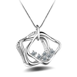 Wholesale three hearts fashion necklace - Women's Fashion 925 Sterling Silver Necklace White Cubic Zirconia three Square Pendants Necklaces Christmas Birthday Gift P198
