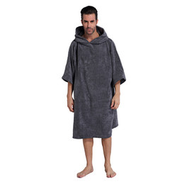 Wholesale Towelling Robe Women - Changing Robe Towel Bath Adult Hooded Beach Towel Poncho Bathrobe Towel Women Man