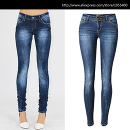 Wholesale Skinny Low Waist - Wholesale-Low Waist Blue Skinny Jeans Women Fashion Washed Bleached Scratched Jeans Femme Plus Size Push Up Vintage Slim Cotton Trousers