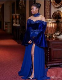 Wholesale Sleeved Chiffon Prom Dresses - Long sleeve prom evening gowns off shoulder royal blue appliques poet sleeved elegant woman evening dresses wear