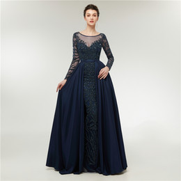 Wholesale Dance Evening - Luxury Royal Blue Prom Dress Illusion Crystal Beaded Dubai Kaftan Muslim Dance Evening Dress Long Sleeve Party Dress