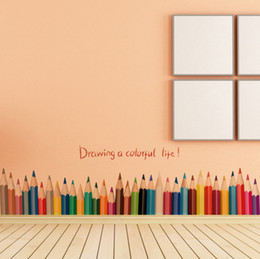 Wholesale Painting Small Rooms - New Fashion Drawing A Colorful Life pencil waist line paint wall sticker home decor Skirting Line Door Background Stair kid room