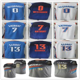Wholesale Paul George Jersey - 2018 New Gray Mens #0 Russell Westbrook Jersey Blue White Stitched 7 Carmelo Anthony 13 Paul George Basketball Jerseys