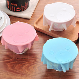 Wholesale washable food - Square Silicone Saran Wrap Washable Bear Pattern Microwave Food Cover Refrigerator Fresh Bowl Sealed Lid For Home 2 6bc ZB