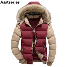 Wholesale Black Fur Hood Jacket - 15 Color Fashion Brand Winter Men's Down Jacket With Fur Hood Hat Slim Men Outwear Coat Casual Thick Mens Down Jackets 4XL