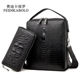 Wholesale Small Leather Messenger Bag Men - FEIDIKABOLO Brand Men Bag Shoulder Bags Double Zipper Trunk Leather Handbags Designer Handbags High Quality Men Messenger Bags