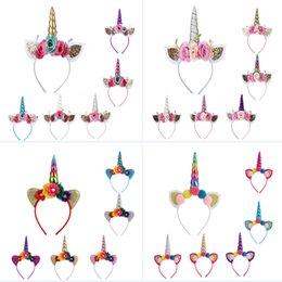 Orecchie di gatto di halloween online-Unicorno Corno Hairband Per Halloween Natale Costume Cosplay Hairwear Hair Accessores Capelli Stick Crown Baby Headband Cat Orecchie HH7-1548