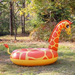 Wholesale Giraffe Rings - Cartoon Giraffe Swimming Ring Oversize Huge Inflatable Tubes Creative Color Chunky Floating Mat Swim Pool Props Hot Sale 32xr Z