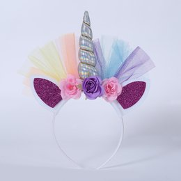 Wholesale spiral headbands - 2018 HOt Unicorn Childrens Party Hat Horn Flowers Glitter Hard Headband Spiral Unicorn Horn