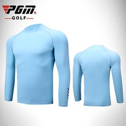 Roupas de gelo seco on-line-PGM golf Camisas Esportes dos homens de Verão de manga comprida roupas de proteção solar Lycra de seda gelo Respirável Quick Dry bottoming shirt