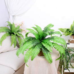 Wholesale fake pot plants - Green Artificial Plants Fern floral Persian artificial potted Grass Plastic Leaves Grass artificial Grass in Pot Home Decoration Fake Wreath