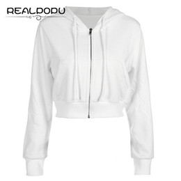 Wholesale long zip up hoodies - White Long Sleeve Ladies Jacket Women Zip Up Pockets Cotton Fashion Top Ribs Hem Hoodie Coat Solid Casual Sexy Basic Winter Coat