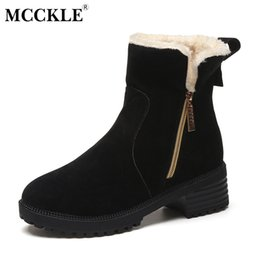 Wholesale insoles warming - MCCKLE Women Short Plush Insoles Heated Warm Winter Snow Boots 2017 Female High Quality Fashion Zip Thick Heel Ankle Shoes