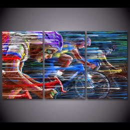 Wholesale Free Sports Posters - 3 piece canvas painting bicycle racing sports HD posters and prints canvas painting for living room free shipping XA-1757A