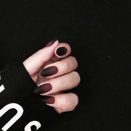 Mate Falso Color Negro Y Rojo Falso Uñas Postizas 24pcs Gótico Medio Largo Tamaño Lafy Completo Uñas Consejos Lindo Decorado Uñas Falsas
