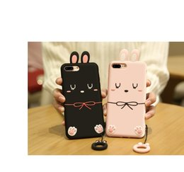 Wholesale Iphone Slimmest Flip Case - 6-3002 Ultra Slim Case for iPhone 7 lovely rabbit Flip Cover cute girl cover