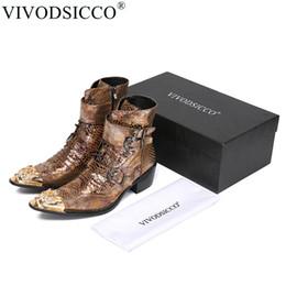Canada VIVODSICCO luxe britannique style hommes mi-mollet bottes en cuir véritable moto bottes de cowboy hommes peau de serpent robe chaussures supplier calf skin leather Offre