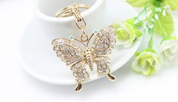 Wholesale Auger Ring - 2018 New arrival personality butterfly Set auger keychain luxury rings key pendant Car keys Creative animal pendant